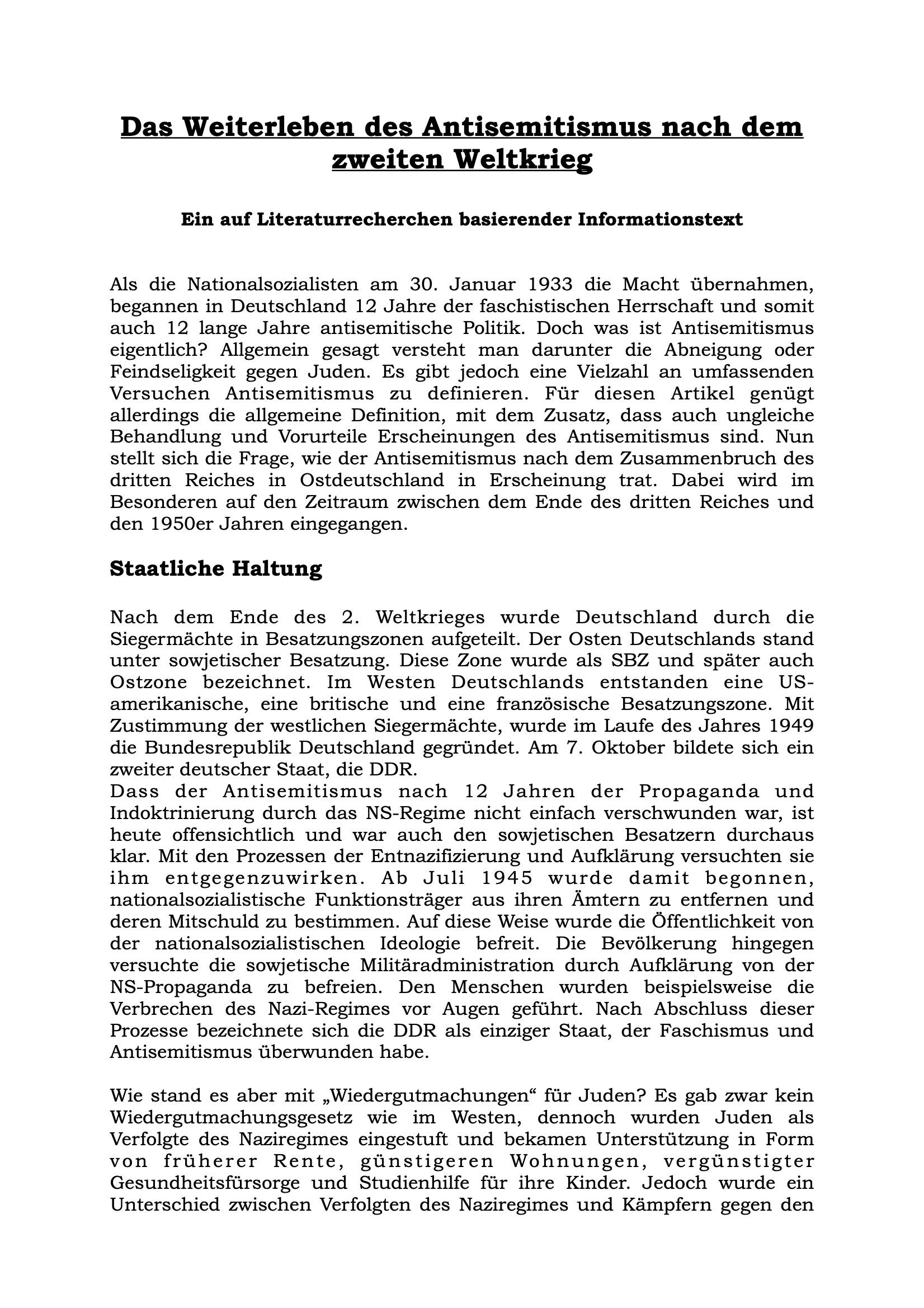 Artikel Antisemitismus nach dem Zweiten Weltkrieg-Seite 1